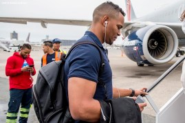 July 10, 2016, Boston, MA: Boston Red Sox shortstop Xander Bogaerts boards the plane in Boston, Massachusetts Sunday, July 10, 2016 during a team charter flight to San Diego, California for the 2016 Major League Baseball All-Star Game. (Photos by Billie Weiss/Boston Red Sox)