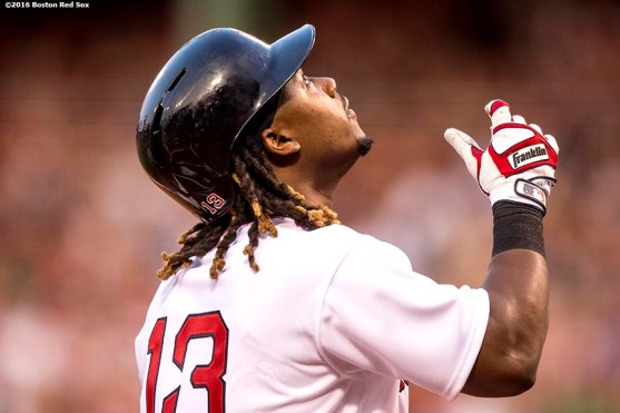 BOSTON, MA - JULY 20: Hanley Ramirez #13 of the Boston Red Sox reacts after hitting a two run home run during the second inning of a game against the San Francisco Giants on July 20, 2016 at Fenway Park in Boston, Massachusetts. (Photo by Billie Weiss/Boston Red Sox/Getty Images) *** Local Caption *** Hanley Ramirez