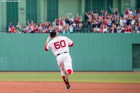 BOSTON, MA - JULY 21: Mookie Betts #50 of the Boston Red Sox rounds the bases after hitting a solo home run during the first inning of a game against the Minnesota Twins on July 21, 2016 at Fenway Park in Boston, Massachusetts. (Photo by Billie Weiss/Boston Red Sox/Getty Images) *** Local Caption *** Mookie Betts