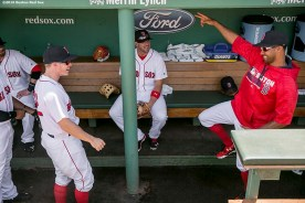 BOSTON, MA - JULY 24: Brock Holt #12 and Chris Young #30 of the Boston Red Sox dance in the dugout before a game against the Minnesota Twins on July 24, 2016 at Fenway Park in Boston, Massachusetts. (Photo by Billie Weiss/Boston Red Sox/Getty Images) *** Local Caption *** Brock Holt; Chris Young