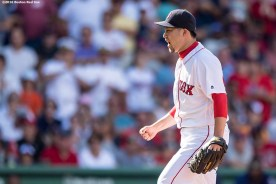 BOSTON, MA - JULY 24: Junichi Tazawa #19 of the Boston Red Sox reacts during the eighth inning of a game against the Minnesota Twins on July 24, 2016 at Fenway Park in Boston, Massachusetts. (Photo by Billie Weiss/Boston Red Sox/Getty Images) *** Local Caption *** Junichi Tazawa