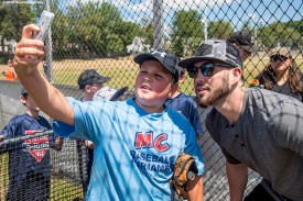 July 26, 2016, Boston, MA: Boston Red Sox catcher Blake Swihart poses for a selfie photograph during a Sox Talk clinic with the T-Mobile Mobile Red Sox Showcase Truck at Billings Field in West Roxbury, Massachusetts Tuesday, July 26, 2016. (Photo by Billie Weiss/Boston Red Sox)