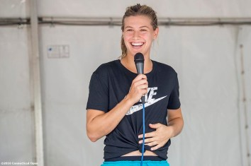 August 19, 2016, New Haven, Connecticut: Eugenie Bouchard of Canada speaks at the draw ceremony during the 2016 Connecticut Open at the Yale University Tennis Center on Friday, August 19, 2016 in New Haven, Connecticut. (Photo by Billie Weiss/Connecticut Open)