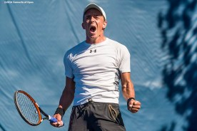 August 22, 2016, New Haven, Connecticut: Jose Statham reacts after winning the US Open National Playoffs men's singles finals match on Day 4 of the 2016 Connecticut Open at the Yale University Tennis Center on Monday August 22, 2016 in New Haven, Connecticut. (Photo by Billie Weiss/Connecticut Open)
