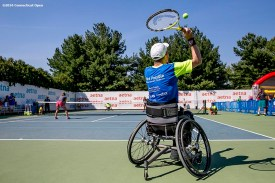 August 24, 2016, New Haven, Connecticut: Raquel Kops-Jones and Abigail Spears attend a wheelchair tennis clinic during Day 6 of the 2016 Connecticut Open at the Yale University Tennis Center on Wednesday, August 24, 2016 in New Haven, Connecticut. (Photo by Billie Weiss/Connecticut Open)