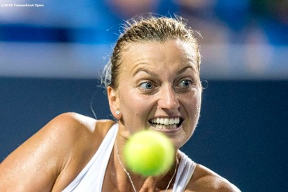 August 24, 2016, New Haven, Connecticut: Petra Kvitova of the Czech Republic in action during a match against Eugenie Bouchard on Day 6 of the 2016 Connecticut Open at the Yale University Tennis Center on Wednesday, August 24, 2016 in New Haven, Connecticut. (Photo by Billie Weiss/Connecticut Open)