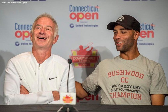 August 25, 2016, New Haven, Connecticut: John McEnroe and James Blake address the media in a press conference during the Men's Legends Event on Day 7 of the 2016 Connecticut Open at the Yale University Tennis Center on Thursday, August 25, 2016 in New Haven, Connecticut. (Photo by Billie Weiss/Connecticut Open)