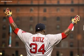 BALTIMORE, MD - SEPTEMBER 19: David Ortiz #34 of the Boston Red Sox warms up before a game against the Baltimore Orioles on September 19, 2016 at Oriole Park at Camden Yards in Baltimore, Maryland. (Photo by Billie Weiss/Boston Red Sox/Getty Images) *** Local Caption *** David Ortiz