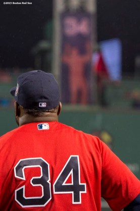 BOSTON, MA - SEPTEMBER 30: David Ortiz #34 of the Boston Red Sox looks on before a game against the Toronto Blue Jays on September 30, 2016 at Fenway Park in Boston, Massachusetts. (Photo by Billie Weiss/Boston Red Sox/Getty Images) *** Local Caption *** David Ortiz