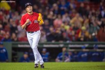 BOSTON, MA - SEPTEMBER 30: Koji Uehara #19 of the Boston Red Sox reacts during the eighth inning of a game against the Toronto Blue Jays on September 30, 2016 at Fenway Park in Boston, Massachusetts. (Photo by Billie Weiss/Boston Red Sox/Getty Images) *** Local Caption *** Koji Uehara