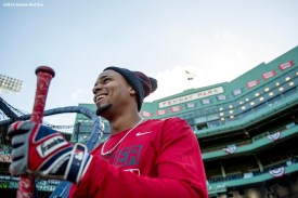 BOSTON, MA - OCTOBER 4: Xander Bogaerts #2 of the Boston Red Sox reacts during a workout before game one of the American League Division Series against the Cleveland Indians on October 4, 2016 at Fenway Park in Boston, Massachusetts. (Photo by Billie Weiss/Boston Red Sox/Getty Images) *** Local Caption *** Xander Bogaerts