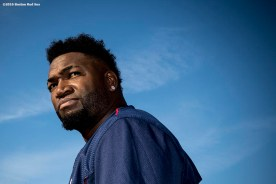 CLEVELAND, OH - OCTOBER 5: David Ortiz #34 of the Boston Red Sox looks on during a team workout before game one of the American League Division Series against the Cleveland Indians on October 5, 2016 at Progressive Field in Cleveland, Ohio. (Photo by Billie Weiss/Boston Red Sox/Getty Images) *** Local Caption *** David Ortiz