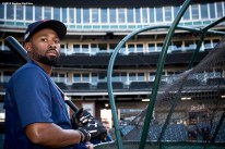 CLEVELAND, OH - OCTOBER 5: Jackie Bradley Jr. #25 of the Boston Red Sox looks on during a team workout before game one of the American League Division Series against the Cleveland Indians on October 5, 2016 at Progressive Field in Cleveland, Ohio. (Photo by Billie Weiss/Boston Red Sox/Getty Images) *** Local Caption *** Jackie Bradley Jr.