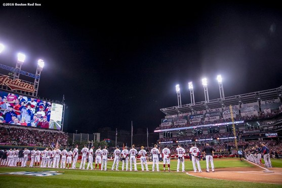 CLEVELAND, OH - OCTOBER 6: Starting lineups are introduced before game one of the American League Division Series between the Boston Red Sox and the Cleveland Indians on October 6, 2016 at Progressive Field in Cleveland, Ohio. (Photo by Billie Weiss/Boston Red Sox/Getty Images) *** Local Caption ***