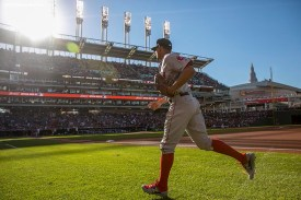 CLEVELAND, OH - OCTOBER 7: Xander Bogaerts #2 of the Boston Red Sox warms up before game two of the American League Division Series against the Cleveland Indians on October 7, 2016 at Progressive Field in Cleveland, Ohio. (Photo by Billie Weiss/Boston Red Sox/Getty Images) *** Local Caption *** Xander Bogaerts
