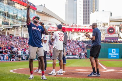 CLEVELAND, OH - OCTOBER 7: LeBron James #23 of the Cleveland Cavaliers addresses the crowd before game two of the American League Division Series between the Boston Red Sox and the Cleveland Indians on October 7, 2016 at Progressive Field in Cleveland, Ohio. (Photo by Billie Weiss/Boston Red Sox/Getty Images) *** Local Caption *** LeBron James