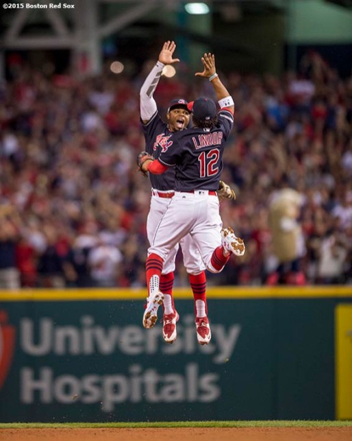 CLEVELAND, OH - OCTOBER 7: Francisco Lindor #12 of the Cleveland Indians and Rajai Davis #20 celebrate after defeating the Boston Red Sox in game two of the American League Division Series on October 7, 2016 at Progressive Field in Cleveland, Ohio. (Photo by Billie Weiss/Boston Red Sox/Getty Images) *** Local Caption *** Francisco Lindor; Rajai Davis