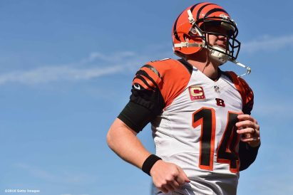 FOXBORO, MA - OCTOBER 16: Andy Dalton #14 of the Cincinnati Bengals takes the field before a game against the New England Patriots at Gillette Stadium on October 16, 2016 in Foxboro, Massachusetts. (Photo by Billie Weiss/Getty Images) *** Local Caption *** Andy Dalton