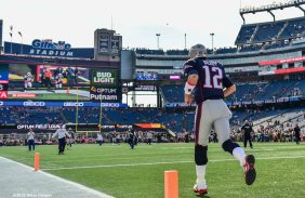 FOXBORO, MA - OCTOBER 16: Tom Brady #12 of the New England Patriots takes the field before a game against the Cincinnati Bengals at Gillette Stadium on October 16, 2016 in Foxboro, Massachusetts. (Photo by Billie Weiss/Getty Images) *** Local Caption *** Tom Brady