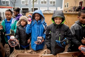 """""""Students play during recess with new Franklin youth baseball gloves donated by the Boston Red Sox at Codman Academy School as part of The Gift Of Sox and the Holiday Caravan in Dorchester, Massachusetts Thursday, December 8, 2016."""""""