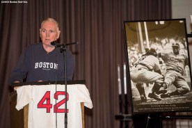 January 27, 2017, Boston, MA: Former Boston Mayor Ray Flynn speaks during a Jackie Robinson Day recognition event at Charlestown High School in Boston, Massachusetts Friday, January 27, 2017. (Photo by Billie Weiss/Boston Red Sox)