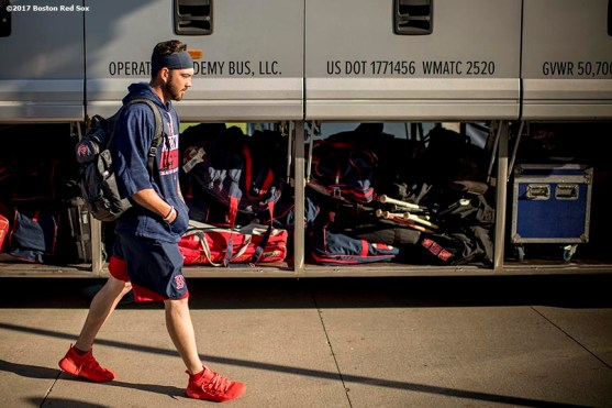FT. MYERS, FL - FEBRUARY 26: Blake Swihart #23 of the Boston Red Sox boards the bus before a spring training game against the Tampa Bay Rays on February 26, 2017 at Fenway South in Fort Myers, Florida . (Photo by Billie Weiss/Boston Red Sox/Getty Images) *** Local Caption *** Blake Swihart