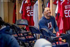 FT. MYERS, FL - FEBRUARY 26: Mookie Betts #50 of the Boston Red Sox reacts in the clubhouse during a team workout on February 26, 2017 at Fenway South in Fort Myers, Florida . (Photo by Billie Weiss/Boston Red Sox/Getty Images) *** Local Caption *** Mookie Betts