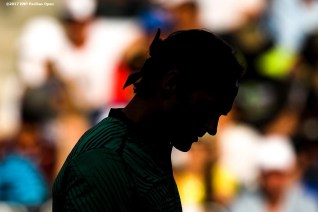 Roger Federer in action during a match against Steve Johnson at the Indian Wells Tennis Garden in Indian Wells, California on Tuesday, March 14, 2017. (Photo by Billie Weiss/BNP Paribas Open)