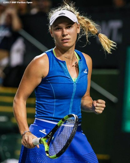Caroline Wozniacki reacts after defeating Katerina Siniakova during the 2017 BNP Paribas Open at the Indian Wells Tennis Garden in Indian Wells, California on Monday, March 13, 2017. (Photo by Billie Weiss/BNP Paribas Open)