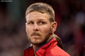 BOSTON, MA - APRIL 5: Chris Sale #41 of the Boston Red Sox looks on before making his debut as a member of the Boston Red Sox against the Pittsburgh Pirates on April 5, 2017 at Fenway Park in Boston, Massachusetts. (Photo by Billie Weiss/Boston Red Sox/Getty Images) *** Local Caption ***Chris Sale