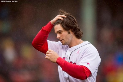 BOSTON, MA - MAY 14: Andrew Benintendi #16 of the Boston Red Sox reacts during the fifth inning of a game against the Tampa Bay Rays on May 14, 2017 at Fenway Park in Boston, Massachusetts. (Photo by Billie Weiss/Boston Red Sox/Getty Images) *** Local Caption *** Andrew Benintendi
