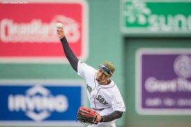 BOSTON, MA - MAY 28: Mookie Betts #50 of the Boston Red Sox throws the ball home during the inning of a game against the Seattle Mariners on May 28, 2017 at Fenway Park in Boston, Massachusetts. (Photo by Billie Weiss/Boston Red Sox/Getty Images) *** Local Caption *** Mookie Betts