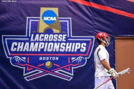 FOXBORO, MA - MAY 29: A member of the Maryland Terrapins exits the locker room before the Division I Men's Lacrosse Championship against the Ohio State Buckeyes at Gillette Stadium on May 29, 2017 in Foxboro, Massachusetts. (Photo by Billie Weiss/Getty Images) *** Local Caption ***