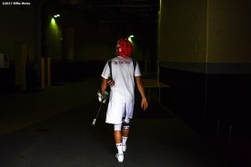 FOXBORO, MA - MAY 29: A member of the Maryland Terrapins walks toward the locker room before the Division I Men's Lacrosse Championship against the Ohio State Buckeyes at Gillette Stadium on May 29, 2017 in Foxboro, Massachusetts. (Photo by Billie Weiss/Getty Images) *** Local Caption ***