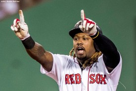BOSTON, MA - JUNE 11: Hanley Ramirez #13 of the Boston Red Sox reacts after hitting an RBI single during the first inning of a game against the Detroit Tigers on June 11, 2017 at Fenway Park in Boston, Massachusetts. (Photo by Billie Weiss/Boston Red Sox/Getty Images) *** Local Caption *** Hanley Ramirez