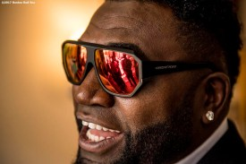 June 22, 2017, Boston, MA: Former Boston Red Sox designated hitter David Ortiz reacts during the unveiling of David Ortiz Drive, formerly known as Yawkey Way Extension, at Fenway Park in Boston, Massachusetts Thursday, June 22, 2017. (Photo by Billie Weiss/Boston Red Sox)