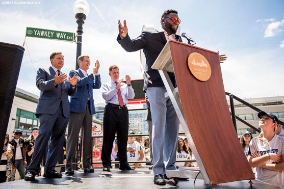 June 22, 2017, Boston, MA: Former Boston Red Sox designated hitter David Ortiz speaks alongside Boston Red Sox Chairman Tom Werner, President Sam Kennedy, and Boston Mayor Marty Walsh during the unveiling of David Ortiz Drive, formerly known as Yawkey Way Extension, at Fenway Park in Boston, Massachusetts Thursday, June 22, 2017. (Photo by Billie Weiss/Boston Red Sox)