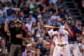 BOSTON, MA - JUNE 28: Xander Bogaerts #2 of the Boston Red Sox reacts after striking out during the third inning of a game against the Minnesota Twins on June 28, 2017 at Fenway Park in Boston, Massachusetts. (Photo by Billie Weiss/Boston Red Sox/Getty Images) *** Local Caption *** Xander Bogaerts