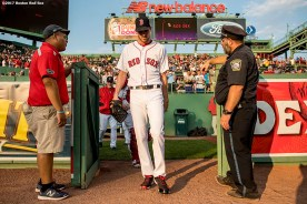 BOSTON, MA - AUGUST 1: Chris Sale #41 of the Boston Red Sox exits the bullpen before a game against the Cleveland Indians on August 1, 2017 at Fenway Park in Boston, Massachusetts. (Photo by Billie Weiss/Boston Red Sox/Getty Images) *** Local Caption *** Chris Sale