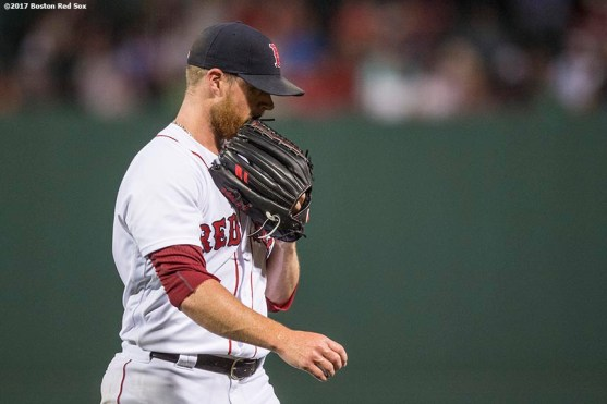 BOSTON, MA - AUGUST 1: Craig Kimbrel #46 of the Boston Red Sox reacts after giving up the lead during the ninth inning of a game against the Cleveland Indians on August 1, 2017 at Fenway Park in Boston, Massachusetts. (Photo by Billie Weiss/Boston Red Sox/Getty Images) *** Local Caption *** Craig Kimbrel