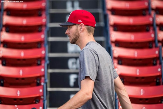 BOSTON, MA - AUGUST 3: Chris Sale #41 of the Boston Red Sox walks through the seats before a game against the Chicago White Sox on August 3, 2017 at Fenway Park in Boston, Massachusetts. (Photo by Billie Weiss/Boston Red Sox/Getty Images) *** Local Caption *** Chris Sale