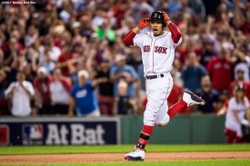 BOSTON, MA - AUGUST 16: Mookie Betts #50 of the Boston Red Sox reacts after hitting the game winning walk-off double during the ninth inning of a game against the St. Louis Cardinals on August 16, 2017 at Fenway Park in Boston, Massachusetts. (Photo by Billie Weiss/Boston Red Sox/Getty Images) *** Local Caption *** Mookie Betts