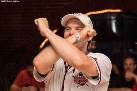 August 17, 2017, Boston, MA: Boston Red Sox infielder/outfielder Brock Holt bowls during the Mookie's Big League Bowl for Pitching In For Kids event at Lucky Strike Lanes in Boston, Massachusetts Thursday, August 17, 2017. (Photo by Billie Weiss/Boston Red Sox)