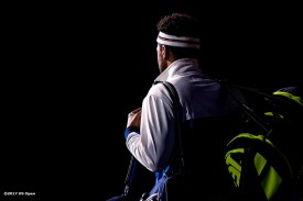 August 30, 2017, New York City, NY: Jo-Wilfried Tsonga is introduced before a match against Denis Shapovalov during the 2017 US Open Tennis Championships at the Billie Jean King National Tennis Center in New York, New York Wednesday, August 30, 2017. (Photo by Billie Weiss/US Open Tennis Championships)