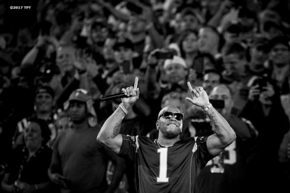 Artist Flo Rida performs before the opening game of the 2017 NFL season between the New England Patriots and the Kansas City Chiefs at Gillette Stadium in Foxborough, Mass. on Sept. 7, 2017. (Photo by Billie Weiss/The Players' Tribune)