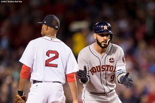 BOSTON, MA - SEPTEMBER 28: Marwin Gonzalez #9 of the Houston Astros reacts after hitting an RBI double during the first inning of a game against the Boston Red Sox on September 28, 2017 at Fenway Park in Boston, Massachusetts. (Photo by Billie Weiss/Boston Red Sox/Getty Images) *** Local Caption *** Marwin Gonzalez