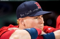 BOSTON, MA - SEPTEMBER 29: Christian Vazquez #7 of the Boston Red Sox displays a message on his hat before a game against the Houston Astros on September 29, 2017 at Fenway Park in Boston, Massachusetts. (Photo by Billie Weiss/Boston Red Sox/Getty Images) *** Local Caption *** Christian Vazquez