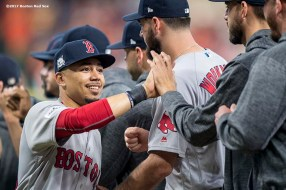 HOUSTON, TX - OCTOBER 5: Mookie Betts #50 of the Boston Red Sox high fives teammates as he is introduced before game one of the American League Division Series against the Houston Astros on October 5, 2017 at Minute Maid Park in Houston, Texas. (Photo by Billie Weiss/Boston Red Sox/Getty Images) *** Local Caption *** Mookie Betts