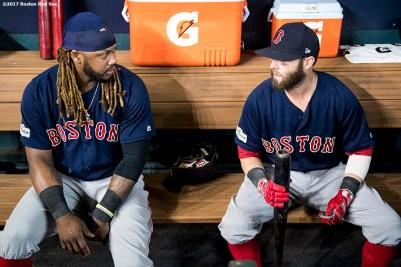 HOUSTON, TX - OCTOBER 6: Hanley Ramirez #13 and Dustin Pedroia #15 of the Boston Red Sox talk in the dugout before game two of the American League Division Series against the Houston Astros on October 6, 2017 at Minute Maid Park in Houston, Texas. (Photo by Billie Weiss/Boston Red Sox/Getty Images) *** Local Caption *** Dustin Pedroia; Hanley Ramirez
