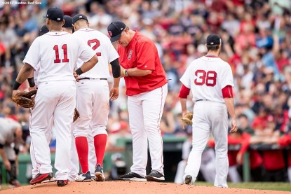 BOSTON, MA - OCTOBER 8: Manager John Farrell of the Boston Red Sox removes Doug Fister #38 during the second inning of game three of the American League Division Series against the Houston Astros on October 8, 2017 at Fenway Park in Boston, Massachusetts. (Photo by Billie Weiss/Boston Red Sox/Getty Images) *** Local Caption *** John Farrell; Doug Fister